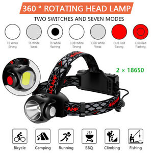 Waterproof-200000LM-Headlamp-Headlight-T6-COB-LED-Rechargeable-Flashlight