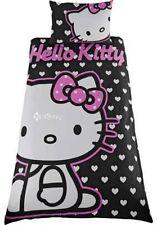 Hello Kitty Hearts Black Single Panel Duvet Cover Bed Set