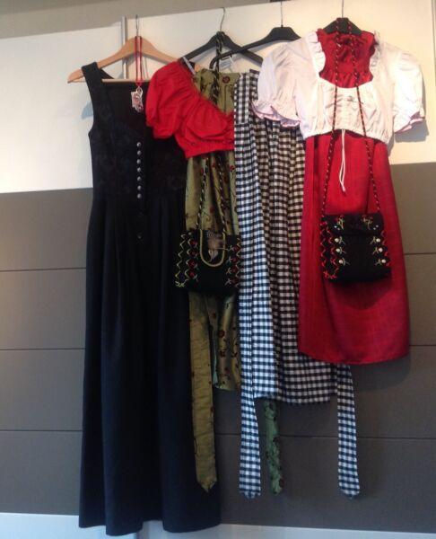 Dirndl Gr. 34 36 Lang Schwarz Grün Rot Weiß Schürze Trachtentasche Bluse Schmuck