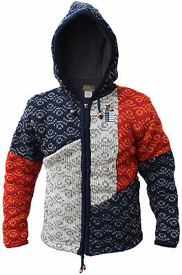 Woolen patchwork doublée en polaire festival veste d/'hiver multicolore hippie à capuche