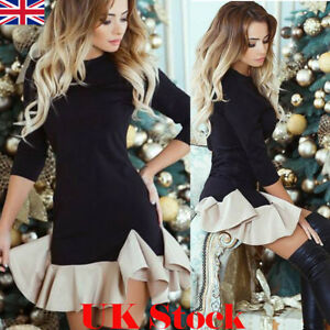 Womens-Cocktail-Party-Bodycon-Ladies-Long-Sleeve-Frill-Ruffle-Mini-Jumper-Dress