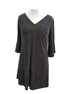 Ladies-Glitter-Shift-Dress-Special-Occasions-Party-3-4-Sleeves-New-size-10-12-16
