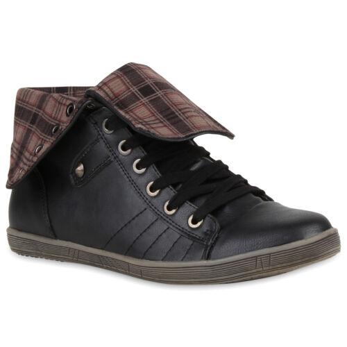 36-41 Top Damen Sneakers Sneaker Boots Nieten 71289 Sportschuhe Strass Gr