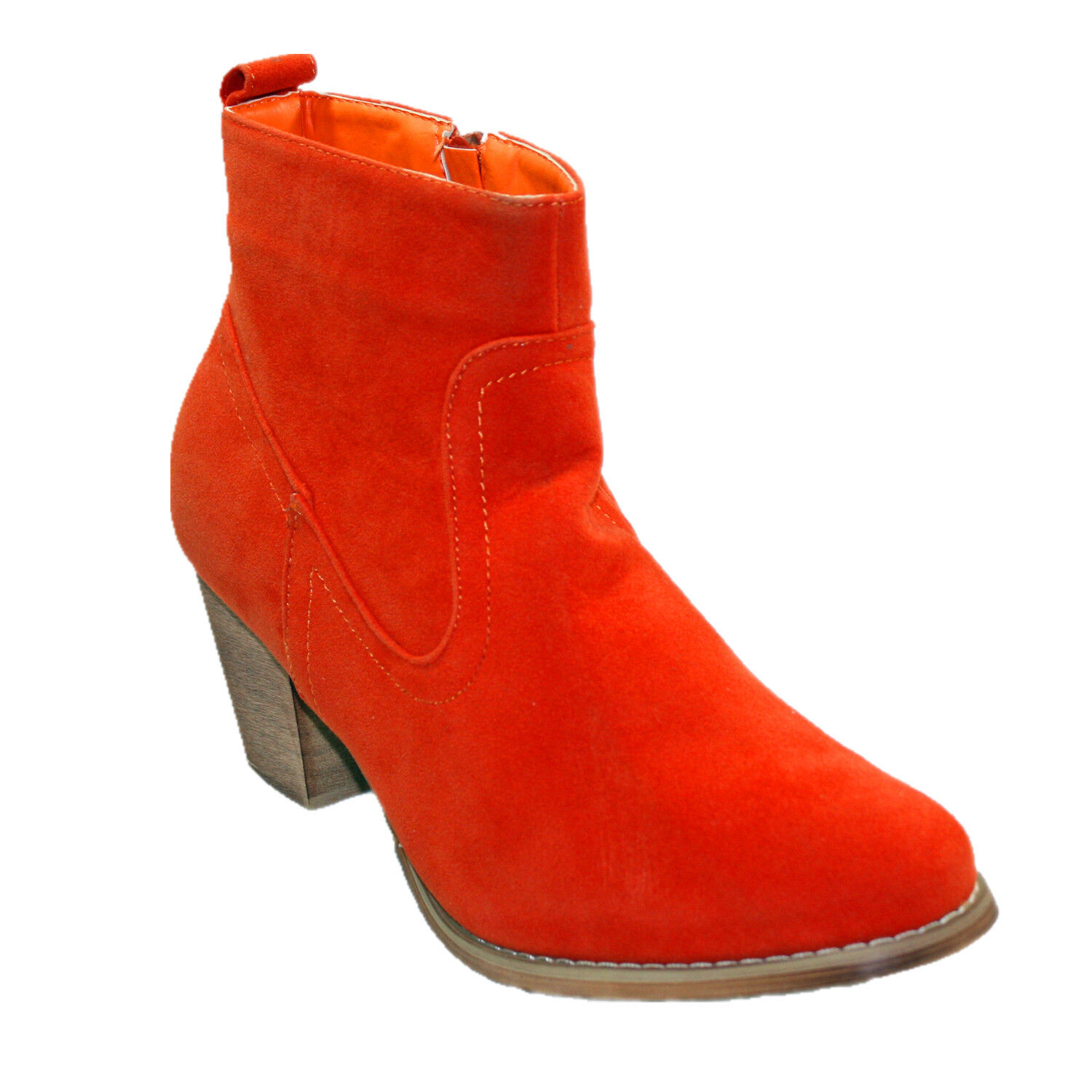 Refresh Sally-01 cowboy style Block Heel ankle bootie with micro suede upper