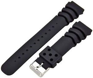 Caoutchouc-Plongeant-Montre-Bracelet-Noir-Convenable-Seiko-Citizen-20mm-Bracelet