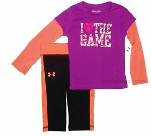 Under Armour Tee Capri Set 2 piece Girls Outfit Athletic Sports Pants Shirt pc