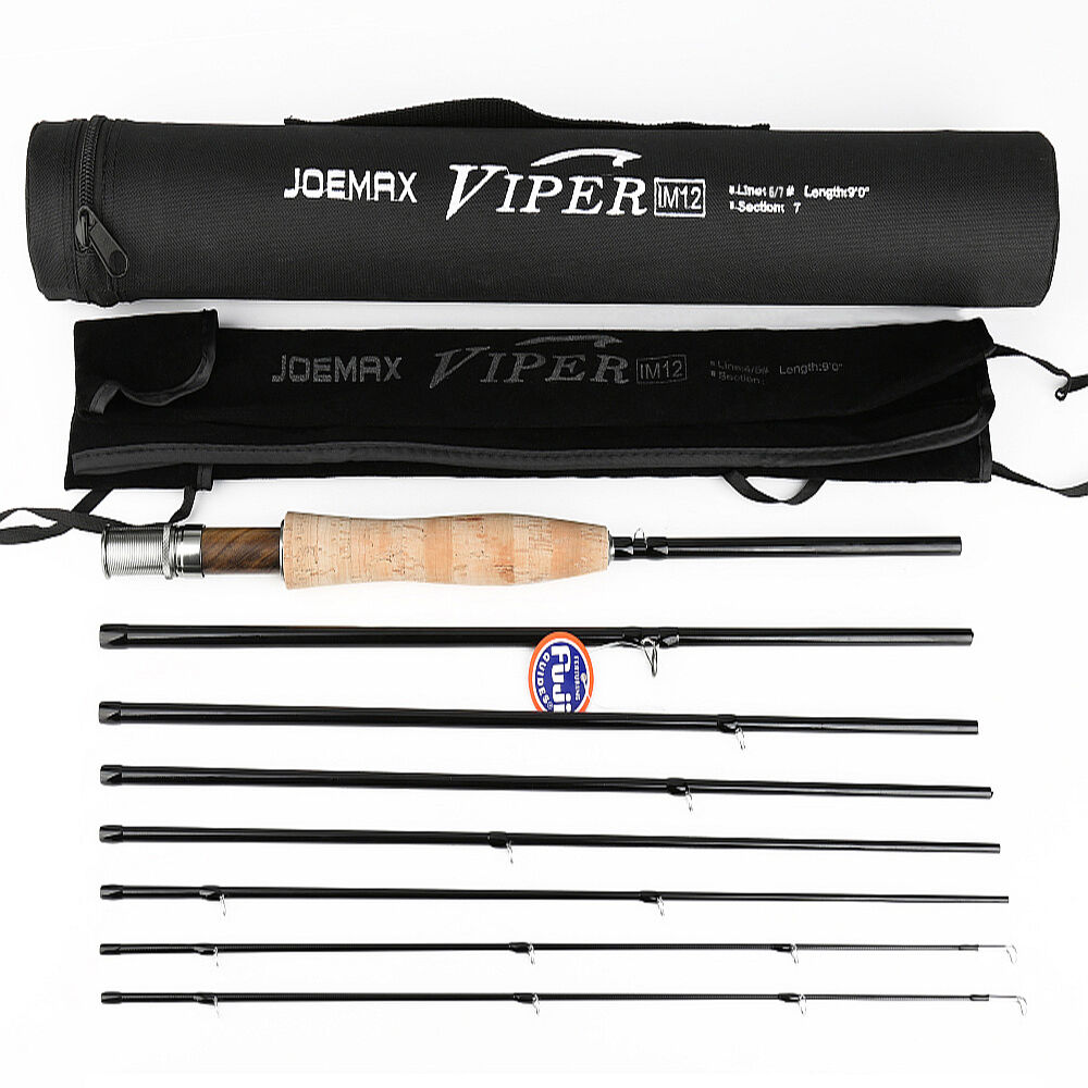 9 6 7+1Sections Travel Fly Fishing Rod with Carbon Fiber & Ultra Light