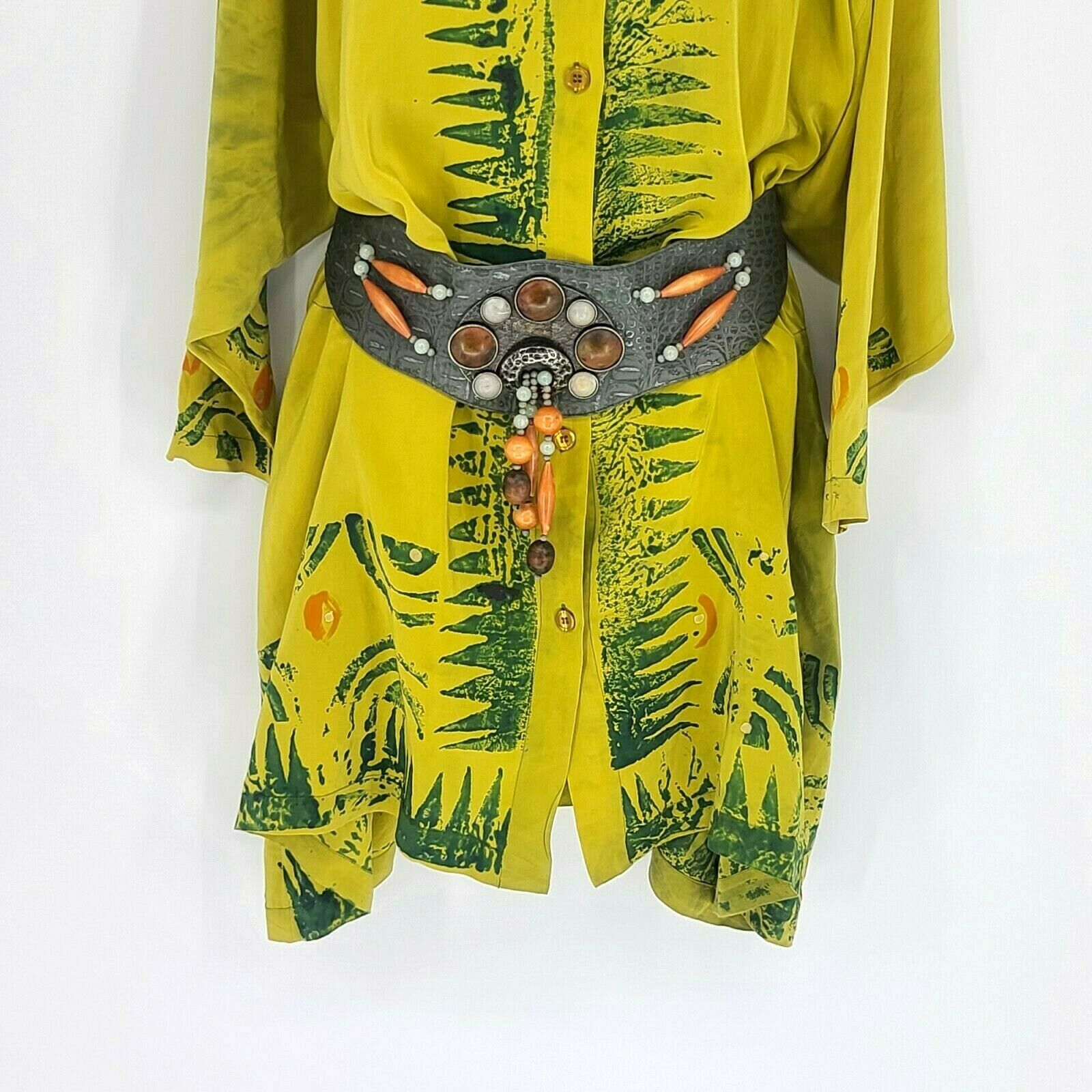 Laise Adzer Womens Vintage 1980's Hand Painted Si… - image 5