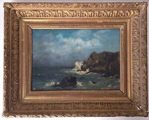 French-Impressionist-Antique-oil-painting-Seascape-Albert-PORCHER-1834-1895