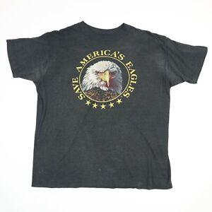Vtg-90s-Paper-Thin-Save-the-Eagles-T-Shirt-MEDIUM-Faded-Black-Distressed-Biker