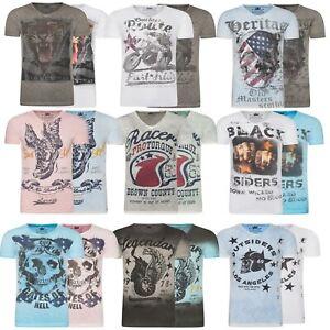 Laraze-Herren-T-Shirt-Shirts-V-Neck-Baumwolle-Print-S-XXL