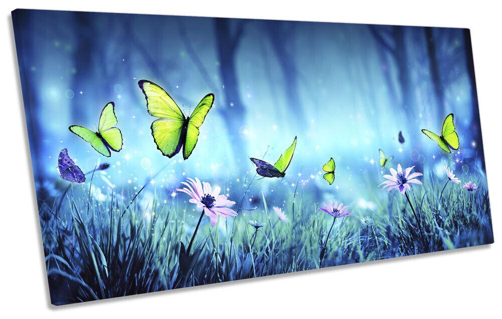 Majestic Butterfly Floral Bild PANORAMIC CANVAS Wand Kunst Drucken Blau