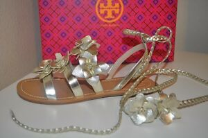 5d0277bf53eea Image is loading NIB-Tory-Burch-Blossom-Metallic-Gladiator-Sandal-Sz-