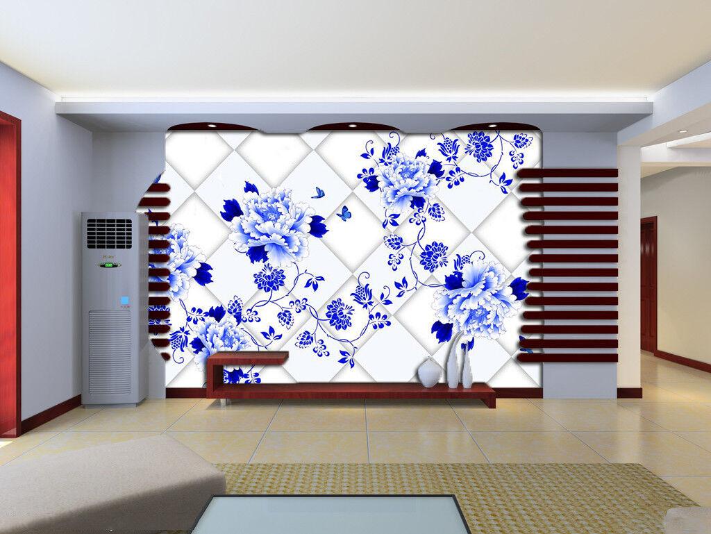 3D bluee Flower Plaid 8 Wallpaper Mural Paper Wall Print Wallpaper Murals UK