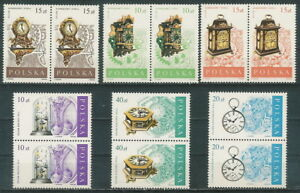 Poland stamps MNH (Mi. 3142-47) Antique clocks (2x) - Bystra Slaska, Polska - Poland stamps MNH (Mi. 3142-47) Antique clocks (2x) - Bystra Slaska, Polska