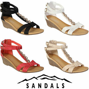 97563e6b7c9 Image is loading WOMEN-LADIES-WEDGE-SANDALS-STRAPY-HEELS-SUMMER-EVENING-