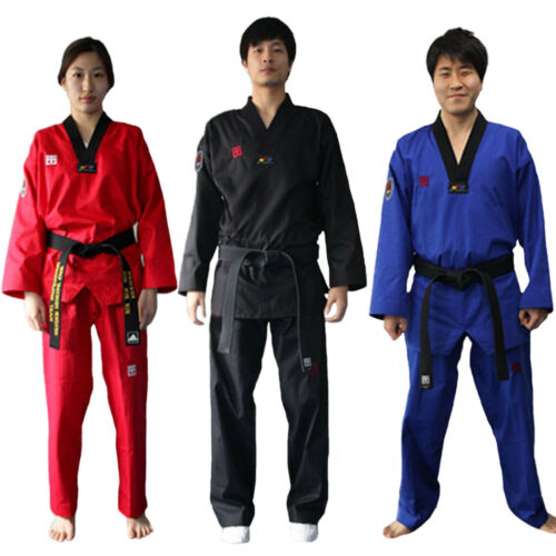 Taekwondo Colored Suits Mooto Color Uniform Black Blue Red Dobok WTF TKD KTA MMA