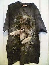 THE MOUNTAIN  BROWN TIE DYE XL GRAPHIC WOLF T-SHIRT