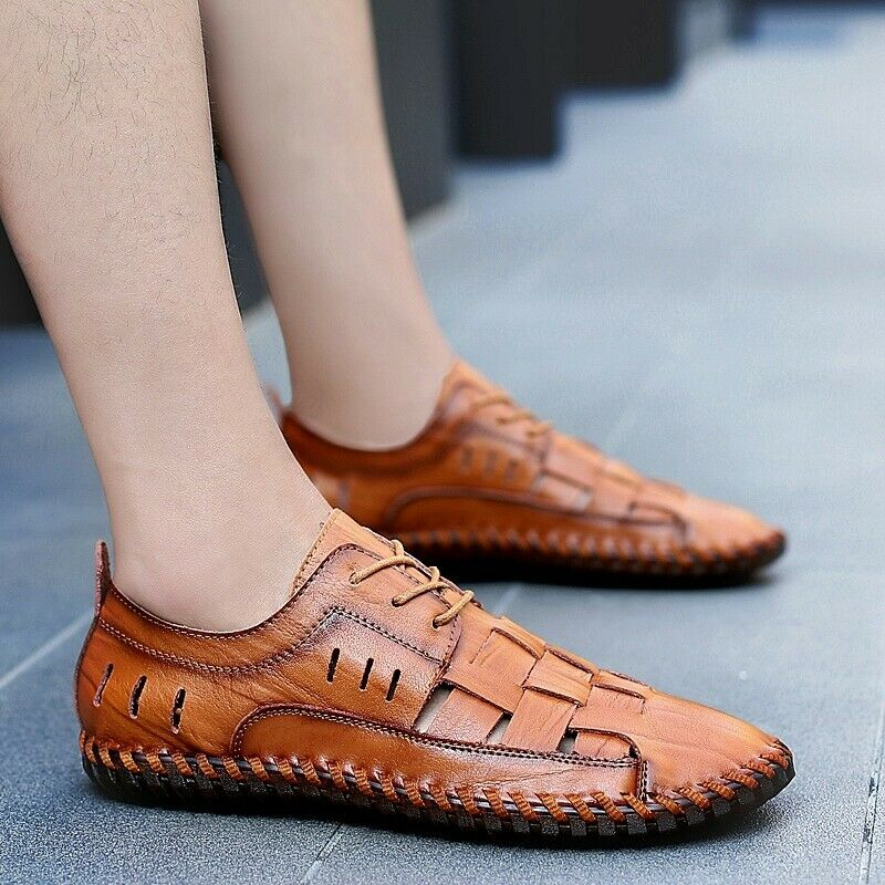 Mens Lace Up Loafers Moccasinshoes Woven Flats Oxfords Casual Beach Sandals size