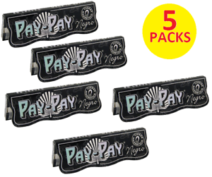 5X-PAY-PAY-Hemp-1-1-4-Size-Negro-Thin-Cigarette-Rolling-Papers-50-leaves-each