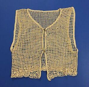 Top-maglia-mare-smanicato-uncinetto-donna-beige-quadri-vintage-trasparente-T1858