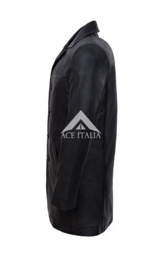 Para hombres Cuero Napa Color Real Negro Largo Hasta La Rodilla Informal Cuero Chaqueta Abrigo 3476