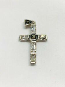 Gorgeous Sparkling Marcasite & White Stones Holy Cross Pendant 925 Silver #12641