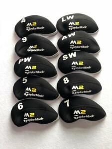 10PCS-Protective-Iron-Headcovers-for-Taylormade-M2-Club-Covers-Black-amp-Black-4-LW
