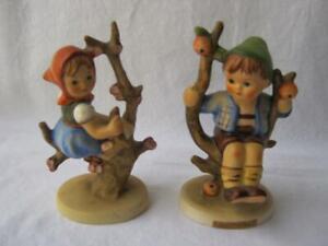 M-I-Hummel-Goebel-Set-APPLE-TREE-BOY-GIRL-Porcelain-Figurine-Germany-141-142