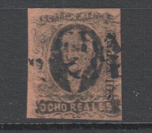 Mexico-Sc-11-used-1861-8r-black-on-red-brown-Hidalgo-SOLTEPEC-overprint-sound