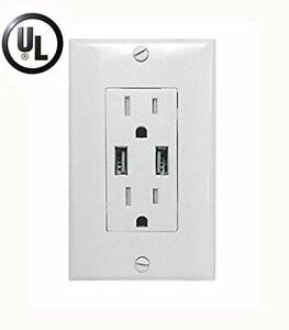 NEW Dual USB Port Wall Charger Power Outlet Receptacle SUPER FAST CHARGE 3.1 AMP