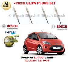 FOR FORD KA 1.3 TDCI 75BHP 1248cc 11/2010-12/2014 NEW DIESEL GLOW PLUGS SET (4)