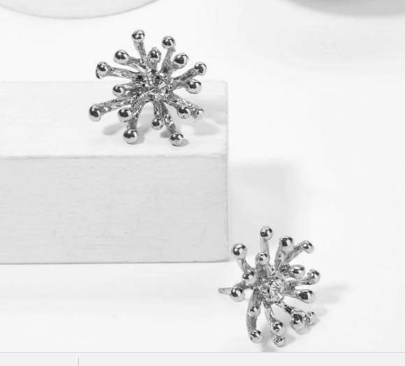 Silver Snowflake Post Earrings with Center Rhinestone