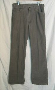 Vintage-LEVI-039-S-WHITE-TAB-Talon-42-Zip-539-Knopf-grau-Cord-Hippie-Hose-34-x-32