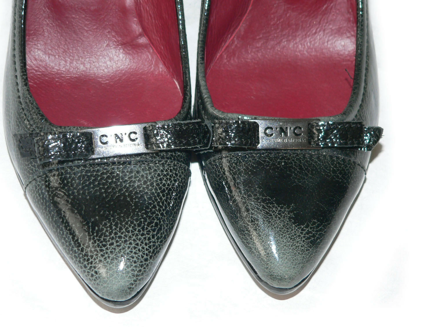 NEW COSTUME NATIONAL patent leather pumps heels shoes  754 37 charcoal designer