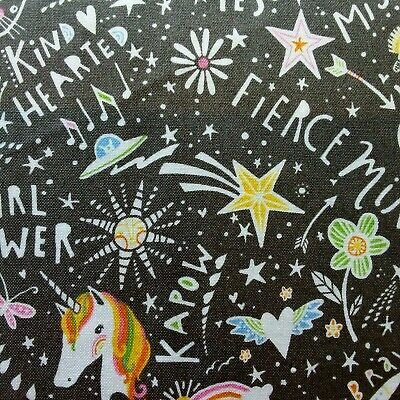 Girl Power Cotton Fabric Dressmaking Ideal for Quilting per FQ 110cm wide