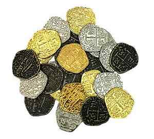 Details about Metal Pirate Coins - Set of 30 Gold and Silver Doubloon  Replicas