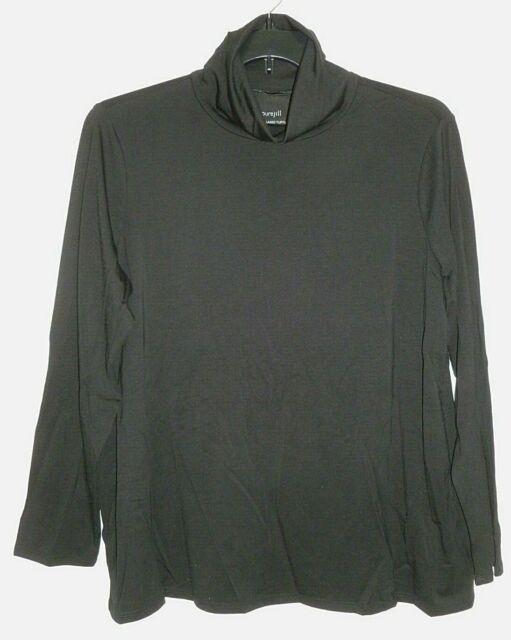 NEW PURE J. JILL M L XL Relaxed Turtleneck Pima Cotton/Spandex L/S Black