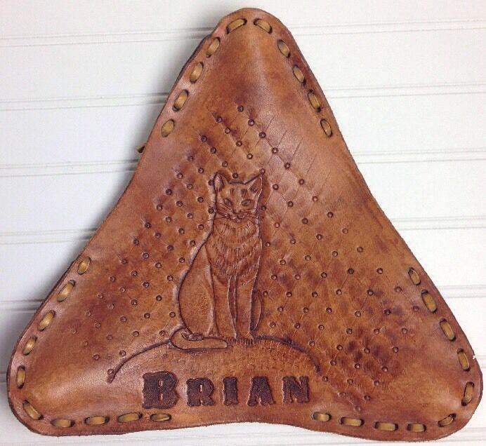 Leather Bicycle  Seat Saddle Cover Cat BRIAN Name Outsider Art Handcrafted  choices with low price