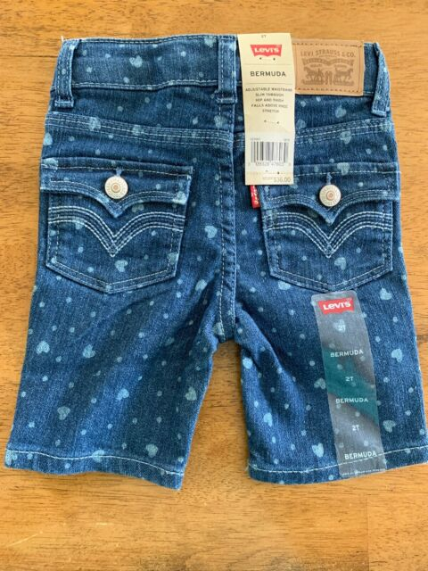 Levi's Girls Bermuda Jean Shorts Regular Size 2T ADJUSTABLE WAIST NEW NWT $36