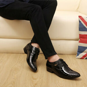 NEW Men\'s Leather Shoes Pointy Toe Carved Business Formal Wedding ...