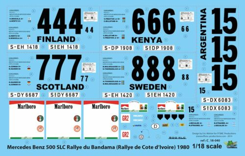Cote d/'Ivoire Decals 1//18 Mercedes 500 SLC Bandama FFSMC Productions 1980
