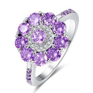Flower-Fashion-Jewelry-Amethyst-amp-White-Topaz-Gemstone-Silver-Ring-Size-6-7-8-9