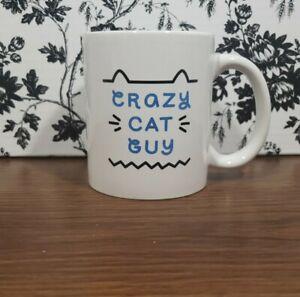 Crazy Cat Guy Coffee Mug Tea Cup White and Blue Ceramic 12oz