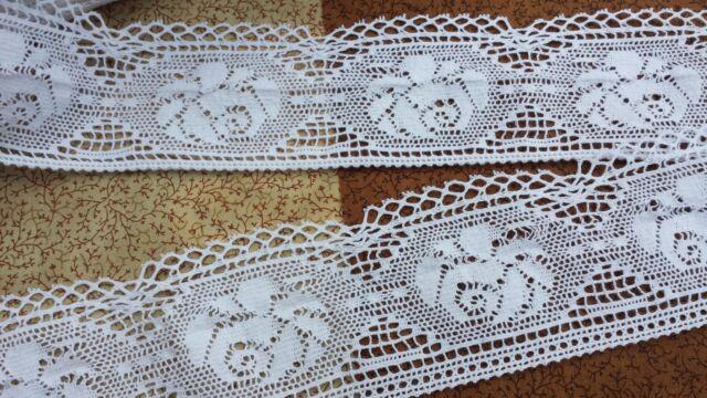 1m Vintage Style Ribbon Trim Crochet Lace Dressmaking Wedding cotton 7cm wide