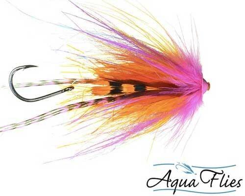 Aqua Flies Turbo Cone Steelhead Tube Fly Orange Pink 3 Flies Fly Fishing Flies
