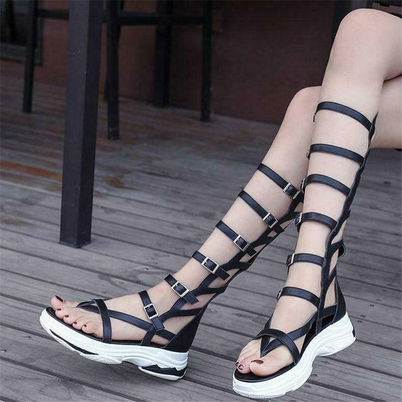 Womens Ladies Strappy Buckle Knee High Gladiator Sandals Cutout Thongs Boots