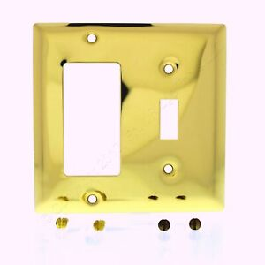 P/&S Polished Solid Brass 2-Gang Toggle Switch Cover Wallplate SB2-PBCC10