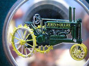 1-OZ.JOHN DEERE MODEL R TRACTOR CHRISTMAS GIFT.999 PROOF EDT SILVER COIN+GOLD