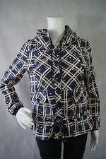 NWT Elf Sack Blue Striped Plaid Polka Dot Button Down Hoodie Jacket Coat Size M